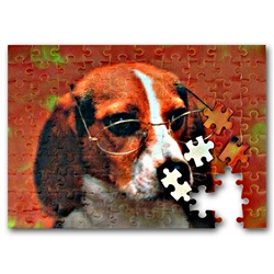 Lenticular jigsaw puzzle with custom design, Beagle puppy dog wearing glasses tilts it head and floppy ears side to side, flip