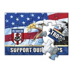 Lenticular jigsaw puzzle with USA American bald eagle, flag with stars and stripes, support our troops, depth flip