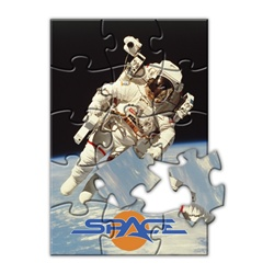 Lenticular jigsaw puzzle with NASA astronaut floats in Earth orbit with a satellite and the Moon, depth