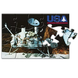 Lenticular jigsaw puzzle with NASA spacecraft sits on Moon's surface, samples for alien life and water, depth