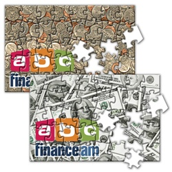 Lenticular jigsaw puzzle with United States of America USA money, currency, dollars and coins, flip