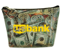 Lenticular zipper purse with United States of America USA money, currency, dollars and coins, flip