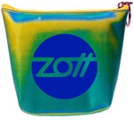 Lenticular zipper purse with yellow, blue, and green, color changing with