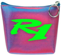 Lenticular zipper purse with red and blue gradient, color changing