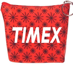 Lenticular zipper purse with black spinning wheels on red background, animation