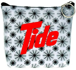 Lenticular zipper purse with black spinning wheels on white background, animation