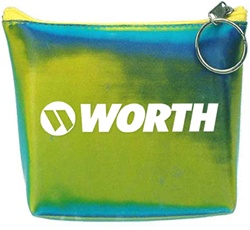Lenticular zipper purse with blue and green gradient, color changing with