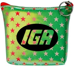 Lenticular zipper purse with white and red stars on a green background, color changing flip