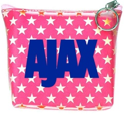 Lenticular zipper purse with white and red stars on a pink background, color changing flip