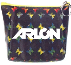 Lenticular zipper purse with yellow, red, and green butterflies on a black background, color changing flip