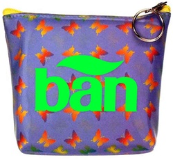 Lenticular zipper purse with rainbow butterflies on a purple background, color changing flip