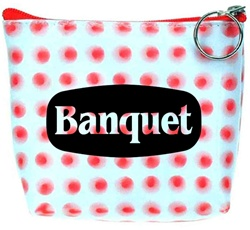 Lenticular zipper purse with red circles spin around on a white background, animation