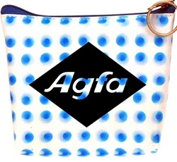 Lenticular zipper purse with blue circles spin around on a white background, animation