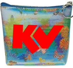 Lenticular zipper purse with cute spring flowers and butterflies, flip with