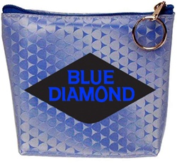 Lenticular zipper purse with blue triangles on a silver and blue gradient background, flip