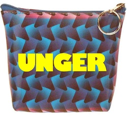 Lenticular zipper purse with black, blue, and purple woven pattern