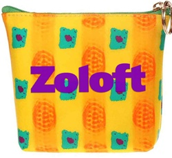 Lenticular zipper purse with orange balls and green squares move in front of a yellow background
