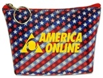 Lenticular zipper purse with American flag stars and stripes, red, white, and blue, color changing flip