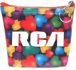 Lenticular zipper purse with red, orange, yellow, green, and purple hearts, depth