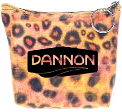 Lenticular zipper purse with wild animal leopard print, color changing flip