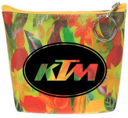 Lenticular zipper purse with large spring time red and orange flowers, depth