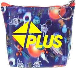 Lenticular zipper purse with universe space ships, planets, comets and asteroids, depth