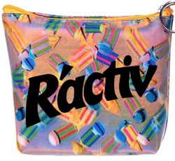 Lenticular zipper purse with multicolored pencils on a pink and purple background, depth
