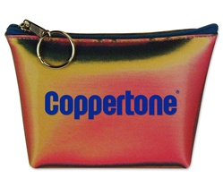 Lenticular zipper purse with red, yellow, and black gradient, color changing