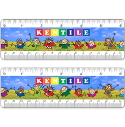 6 inch Lenticular ruler with happy colorful children dancing in a grass field, waving their arms in the air, animation