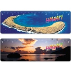 Lenticular ruler with tropical Hawaiian Molokini Island, near Maui, sunset and helicopter aerial view