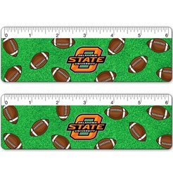 Lenticular ruler with American footballs wobbling and rotating on astro turf NFL Superbowl grass, flip