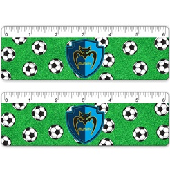 Lenticular ruler with soccer futbols wobbling, bouncing, and rotating on astro turf LA Galaxy world cup grass, flip
