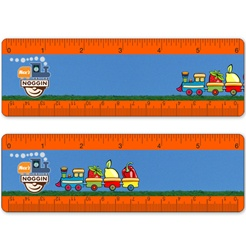 Lenticular Ruler with a toy train carrying strawberries, apples, and other fruit. Example of Lenticular animation effect.
