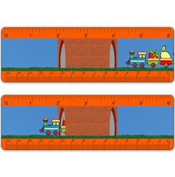 Lenticular ruler with childrens toy train carrying strawberries, apples, and other fruit, drives across track through a brick tunnel, animation