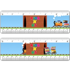 Lenticular ruler with childrens toy train carrying many stacks of school and college books, drives across track through a tunnel, animation