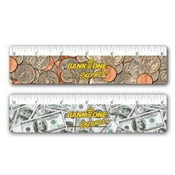 "Lenticular 6"" ruler with United States of America USA money, currency, dollars and coins, flip"