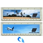 Lenticular acrylic ruler with United Airlines jumbo jet airplane takes off from tropical Hawaiian paradise, amidst palm trees and blue sky, flip