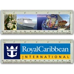 Lenticular acrylic ruler with custom design, Royal Caribbean International, large luxurious cruise ship in the open ocean, flip