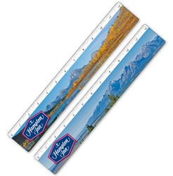 Lenticular ruler with Grand Teton National Park in Wyoming, mountains, lake, snow, and hills, flip