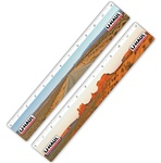 "Lenticular PET 12"" ruler with Monument Valley in Utah, wide open road, red clay rocks, plateaus, and tumbleweeds"