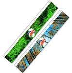 Lenticular ruler with tall Redwood forest trees, thick canopy of vivid green foliage, party cloudy skies, flip
