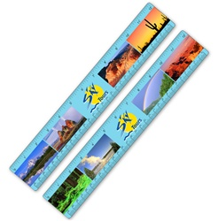 Lenticular ruler with various United States of America USA national parks from all biomes and climates, flip