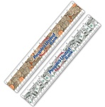 "Lenticular PET 12"" MI ruler with United States of America USA money, currency, dollars and coins, flip"