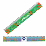 Lenticular ruler with custom design, Guam and Saipan aquarium, tie die rainbow colors intertwining, color changing