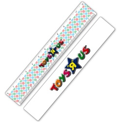 "Lenticular 12"" Ruler with red, blue, and green spinning wheels, animation"