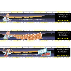 Lenticular ruler with custom design, display column measurement for newspapers, recruit Las Vegas man throws cards, animation