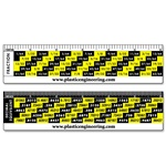 Lenticular conversion ruler with converts common fractions to their decimal equivalents, yellow and black, flip