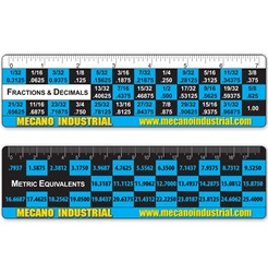 Lenticular conversion ruler with converts common fractional inch measurements to their metric equivalents, blue and black, flip