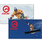 Lenticular sticker with custom design, snowboarder transitions from fresh packed powder to flying through the blue winter mountain sky, flip
