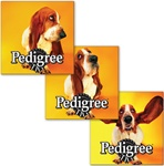 Lenticular sticker with custom design, Pedigree dog with big floppy ears has them blow in the wind, animation